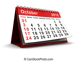 october 2010 calendar - 3d illustration of desktop calendar...
