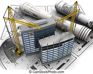 construction - abstract 3d of building development concept