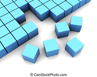 cubes construction - abstract 3d illustration of blue cubes...