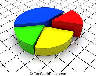 3d Pie Chart - 3d illustration of 3d pie chart over grid...