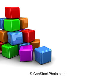 colorful cubes - 3d illustration of colorful cubes...