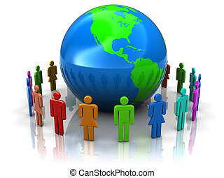 people around earth - abstract 3d illustration of people...