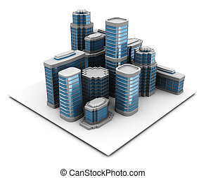 city - 3d illustration of city block, over white background