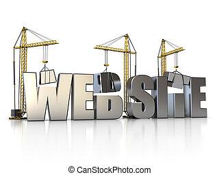 web building - 3d illustration of website sign with building...