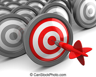 best target - abstract 3d illustration of one right target...