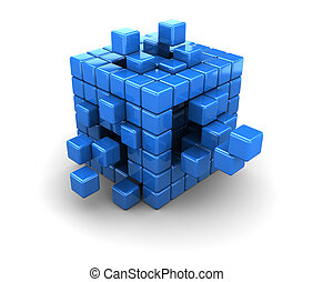 blue cubes construction - abstract 3d illustration of blue...