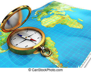 compass and map - 3d illustration of world map with compass...