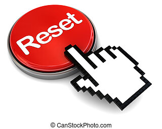 reset button - 3d illustration of pushing red button with...