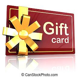gift card - 3d illustration of gift plastic card over white...