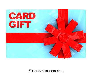 gift card - 3d illustration of plastic gift card, over white...