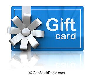 gift card - 3d illustration of gift plastic card with white...