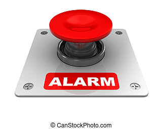 alarm button - 3d illustration of red button with alarm...