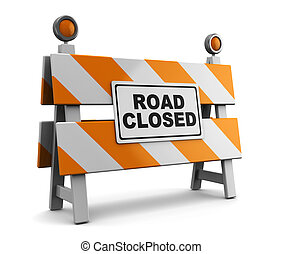 road closed - 3d illustration of barrier with road closed...