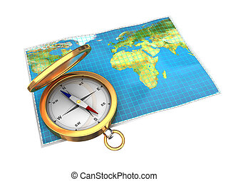 map and compass isolated - 3d illustration of map and...