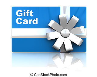 gift card - 3d illustration of gift card, over white...