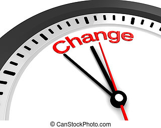 time to change clock - 3d illustration of clock with change...