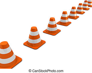 road cones - 3d illustration of road cones line over white...