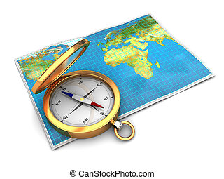 map and compass - 3d illustration of world map with compass,...