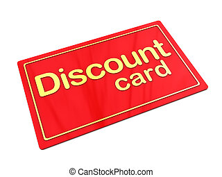 discount card - 3d illustration of red plastic card with...