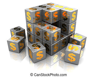 building business - 3d illustration of box construction with...