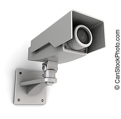security camera - 3d illustration of security camera mountet...