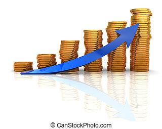 coins charts - 3d illustration of raising coins charts with...