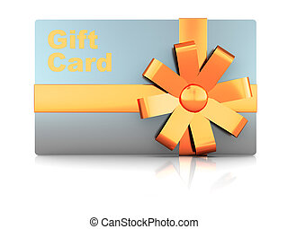 gift card - 3d illustration of gift plastic card with ribbon...