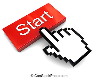 push start button - 3d illustration of hand cursor and start...