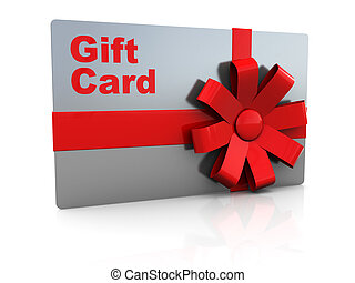 gift card - 3d illustration of platic gift card over white...