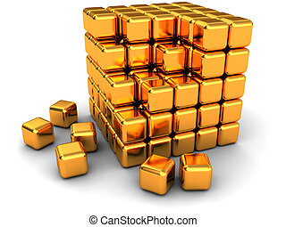 abstract cube structure - abstract 3d illustration of cube...