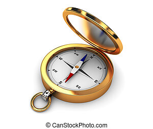 compass - 3d illustration of golden compass over white...
