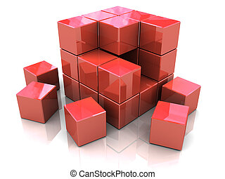 cube construction - 3d illustration of red cube construction...