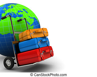 world travel - abstract 3d illustration of world globe and...