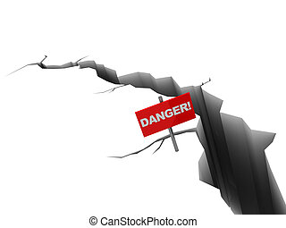 earh crack - 3d illustration of crack with danger red sign