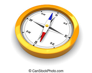 compass - 3d illustration of compass isolated over white...