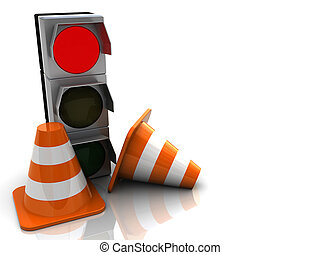 road works - 3d illustration of road cones and traffic light...