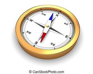 compass - 3d illustration of golden metal compass over white...