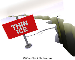 thin ice - 3d illustration of crack in ice with red thin ice...