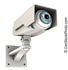 big brother - 3d illustration of security camera with eye,...