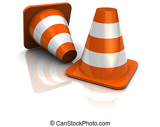 road cones - 3d illustration of two road cones over white...