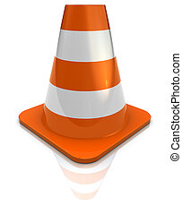 road cone - 3d illustration of road cone icon over white...
