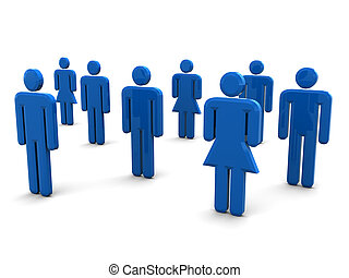crowd - 3d illustration of people signs over white...