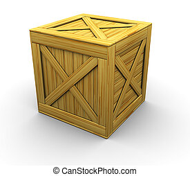 crate - 3d illustration of wooden crate over white...