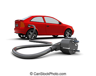 electric car - 3d illustration of car with power plug,...