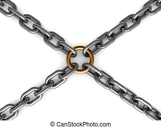chains - abstract 3d illustration of two chains lock cross,...