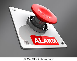 alarm button - abstract 3d illustration of red alarm button...