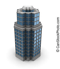 3d city building - 3d illustration of single skyscraper...