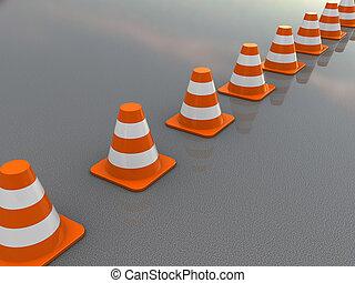 traffic cones line - 3d illustration of traffic cones line...