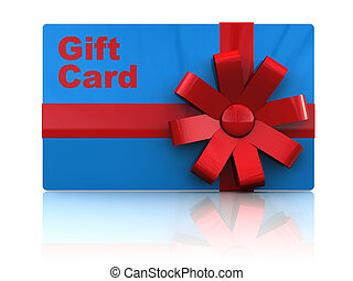 gift card - 3d illustration of gift plastic card with...