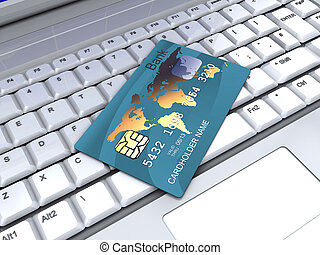 internet banking - 3d illustration of plastic card and...